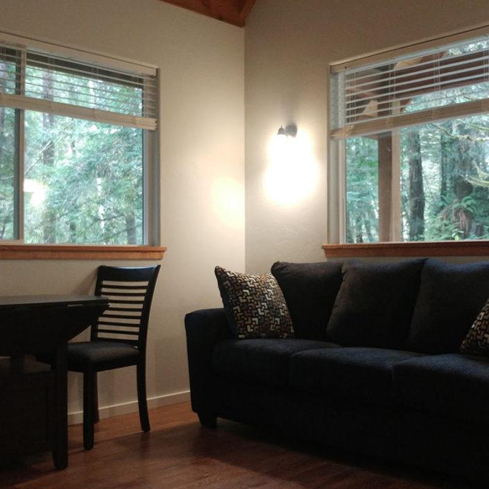 One Bedroom Cabin Rental Redwood Coast Cozy Living Room